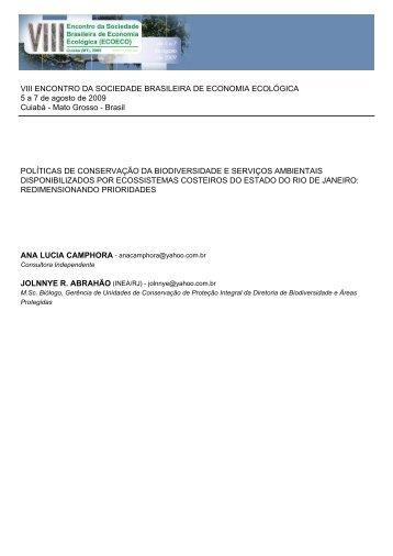 políticas de conservação da biodiversidade e serviços - EcoEco ...