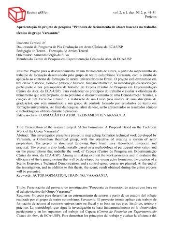 Revista aSPAs vol. 2, n.1, dez. 2012, p. 44-51 Projetos ... - ECA-USP