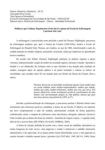 Gênero, Memória e Narrativas – ST 41 Alessandra Rosa Carrijo ...