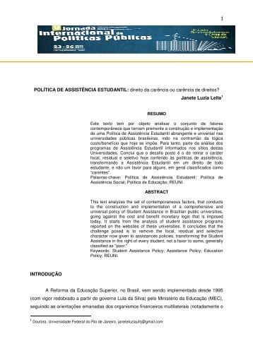 1 POLÍTICA DE ASSISTÊNCIA ESTUDANTIL: direito da carência ou ...