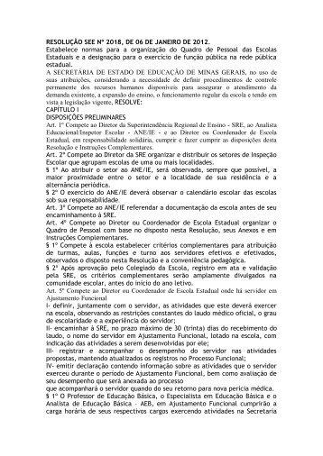 RESOLUÇÃO SEE Nº 2018, DE 06 DE JANEIRO DE 2012 ...