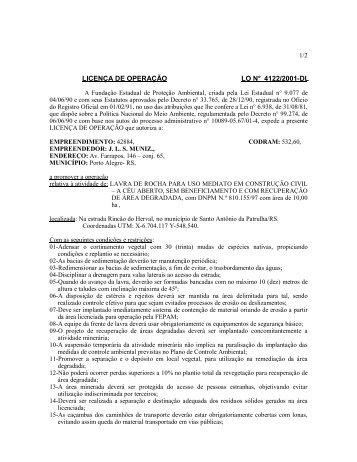 LICENÇA DE OPERAÇÃO LO N° 4122/2001-DL - Fepam