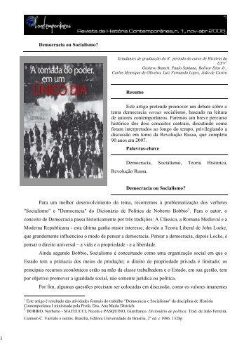 Democracia ou Socialismo? - Revista Contemporâneos