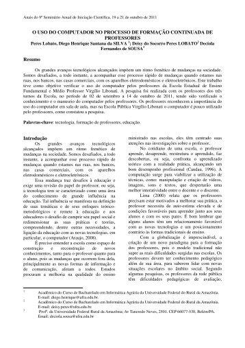 O USO DO COMPUTADOR NO PROCESSO DE ... - PROPED - Ufra