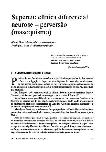 clínica diferencial neurose - perversão (masoquismo) - Escola Letra ...