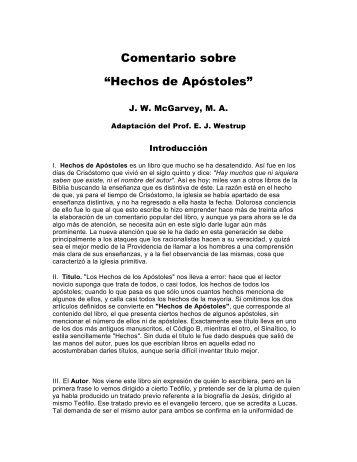 """Comentario sobre """"Hechos de Apóstoles"""" - The Bible / Regresando ..."""