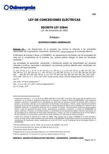 LEY DE CONCESIONES ELÉCTRICAS - osinerg.gob.pe - Osinergmin