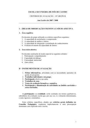 planificações/critérios de filosofia 2007-2008 - Escola Secundária ...