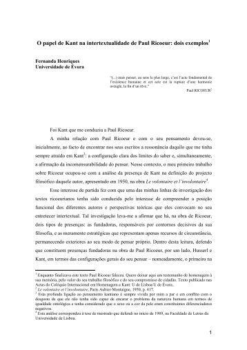 O papel de Kant na intertextualidade de Paul Ricoeur: dois exemplos