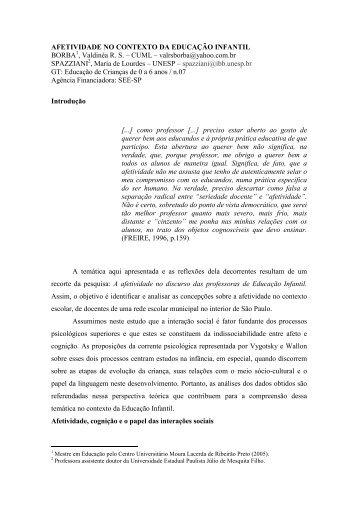 AFETIVIDADE NO CONTEXTO DA EDUCAÇÃO INFANTIL ... - ANPEd