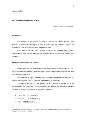 1 MARANHÃO Projeto Conviver em Duque Bacelar ... - FGV-Eaesp