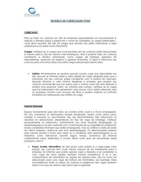 Modelo De Curriculum Vitae Efetivarh