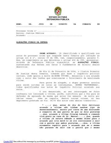 alegações finais legitima defesa - Defensoria Pública do estado do ...