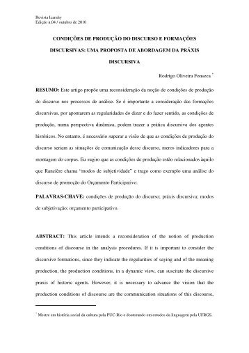 condições de produção do discurso e formações ... - revista Icarahy