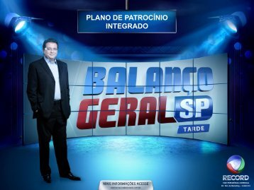 PLANO DE PATROCÍNIO INTEGRADO - Comercial - Rede Record