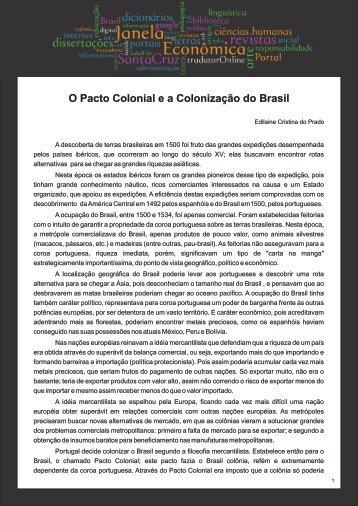 O Pacto Colonial e a Colonização do Brasil - Faculdades Santa Cruz