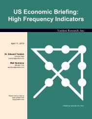 US Economic Briefing: High Frequency Indicators