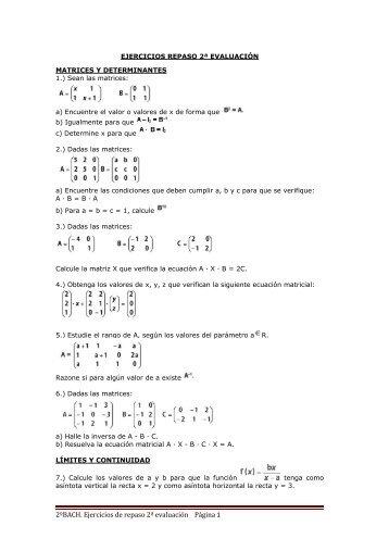 2ºBACH. Ejercicios de repaso 2ª evaluación Página 1