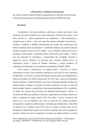 A psicotécnica e relações internacionais. - ANPUH-SP