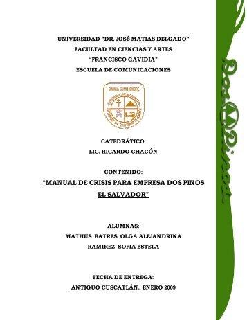 """""""MANUAL DE CRISIS PARA EMPRESA DOS PINOS EL SALVADOR"""""""