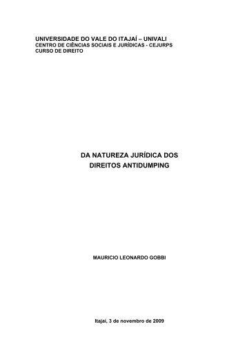 DA NATUREZA JURÍDICA DOS DIREITOS ANTIDUMPING - Univali