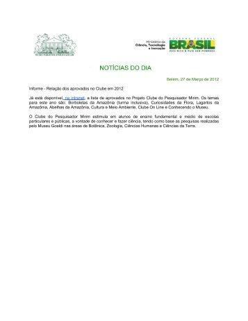Belém, 27 de Março de 2012 Informe - Museu Paraense Emílio Goeldi