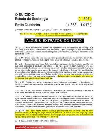 O SUICÍDIO Estudo de Sociologia ( 1.897 ) Émile Durkheim ( 1.858 ...