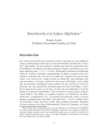 Introducción a la Lógica Algebraica ∗ - Facultad de Matemáticas ...