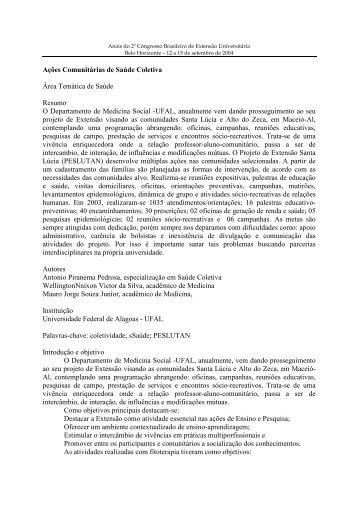 Ações Comunitárias de Saúde Coletiva Área Temática de ... - UFMG