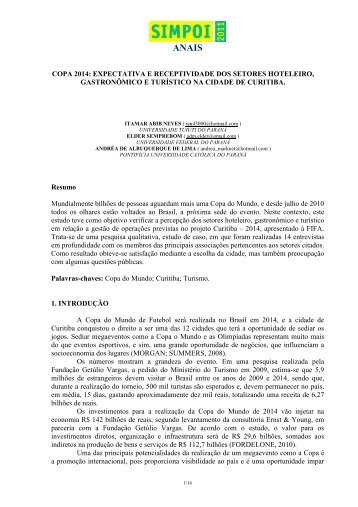 COPA 2014: EXPECTATIVA E RECEPTIVIDADE DOS ... - Simpoi
