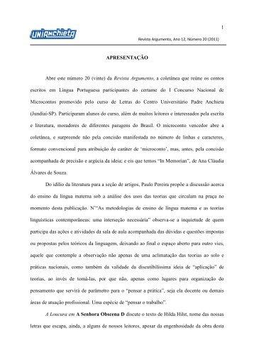 Ano 12, Número 20 (2011) - Faculdades Padre Anchieta