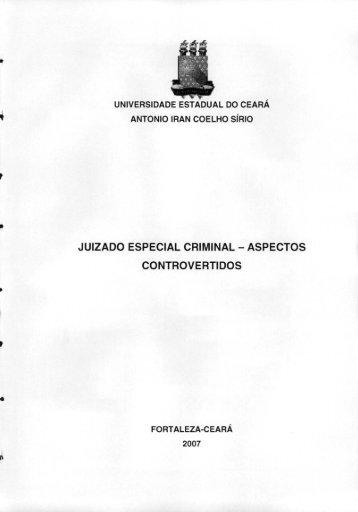 juizado especial criminal - aspectos controvertidos - Ministério ...