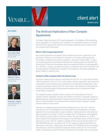 The Antitrust Implications of Non-Compete Agreements