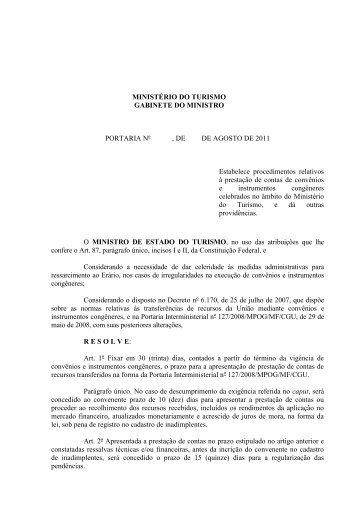 PORTARIA Nº , DE 1 DE JULHO DE 2011 - Ministério do Turismo