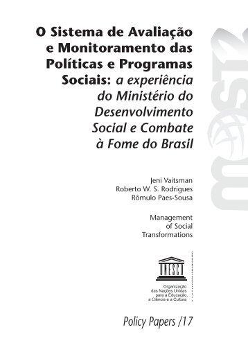 O Sistema de avaliação e monitoramento das políticas e programas ...