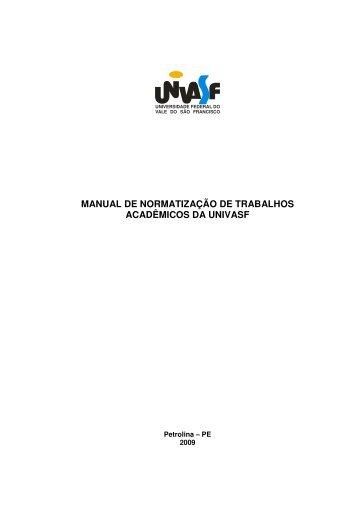 manual de normatização de trabalhos acadêmicos da univasf