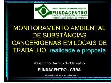MONITORAMENTO AMBIENTAL DE SUBST CANCERÍGENAS