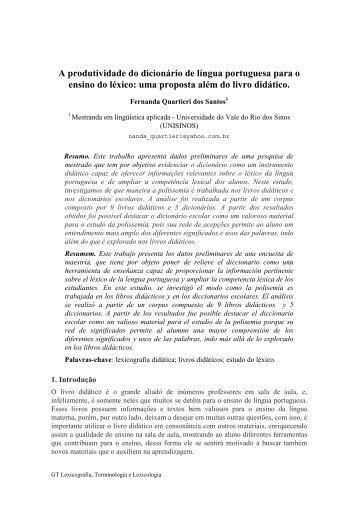 A produtividade do dicionário de língua portuguesa para o ensino ...