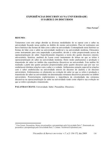 experiências discursivas na universidade - Psicanálise & Barroco