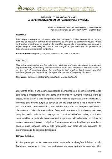 DESESTRUTURANDO O OLHAR: A EXPERIMENTAÇÃO ... - anpap