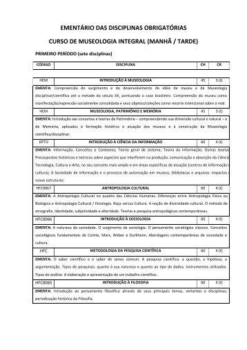 EMENTÁRIO DAS DISCIPLINAS OBRIGATÓRIAS CURSO ... - Unirio