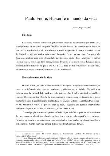 Paulo Freire, Husserl e o mundo da vida - Universidade Federal de ...