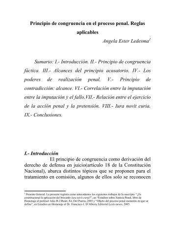 Principio de congruencia en el proceso penal Reglas aplicables