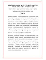seminário crise econômica mundial ea conjuntura política - Cebes