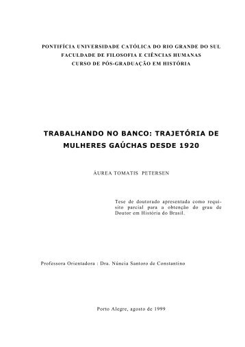 trabalhando no banco: trajetória de mulheres gaúchas desde 1920