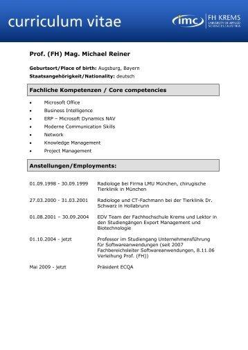 Curriculum Vitae - Vorlage