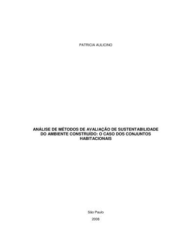 análise de métodos de avaliação de sustentabilidade do ambiente ...