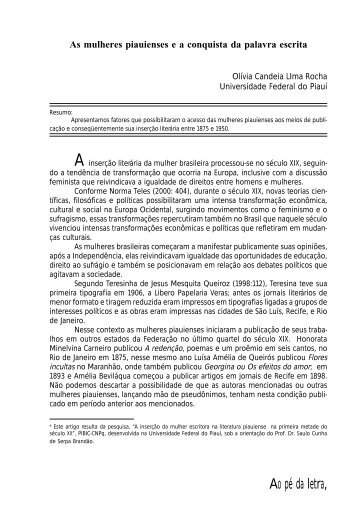 Olívia Candeia Lima Rocha (UFPI) - Revista Ao Pé da Letra