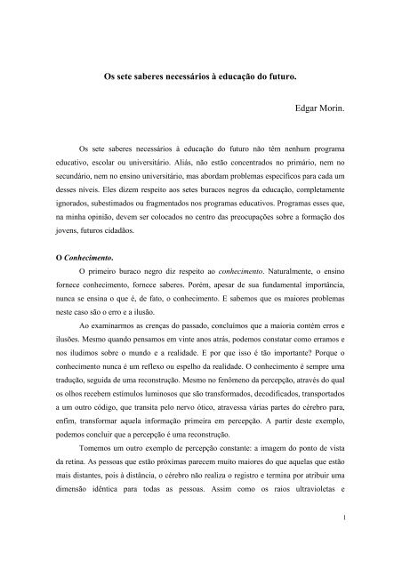 LIVRO SETE DE SABERES EDGAR BAIXAR MORIN OS