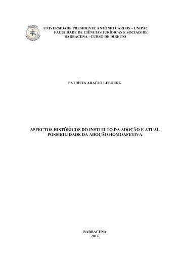 aspectos históricos do instituto da adoção e atual ... - Unipac